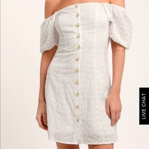 White eyelet button front dress NWT